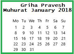 Griha Pravesh Muhurat January-2018