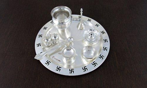 Silver Plated Pooja Thali - Griha Pravesh Gift Item Idea