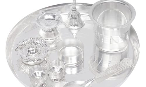 Silver Plated Pooja Thali - Griha Pravesh Gift Items