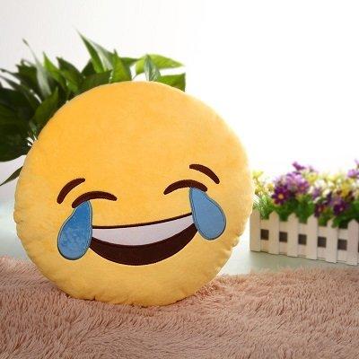 cute Plush Toy Sofa Decorations Soft Emoji Cushion Smiley Emoticon Yellow Round Cushion Pillow Stuffed Plush Toy Doll